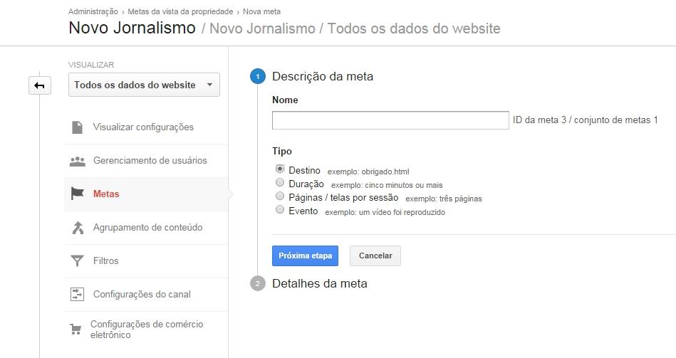 Cadastro de metas de conversão no Google Analytics