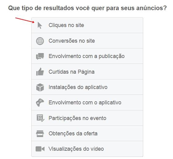 Facebook Ads: cliques no site