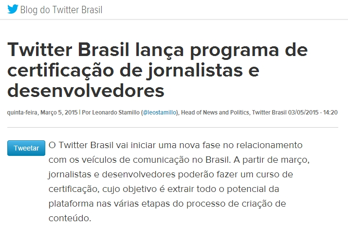 Twitter lança programa de certificação de jornalistas