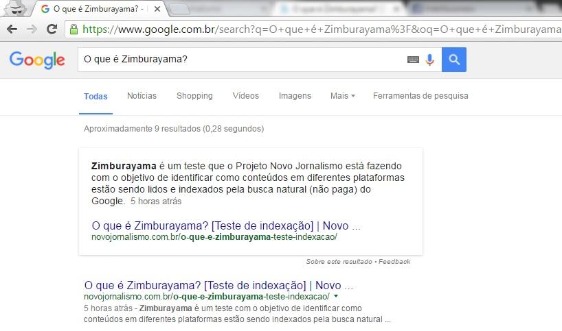 O que é Zimburayama - Teste de indexação: busca 2