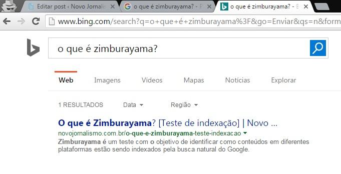 O que é Zimburayama - Teste de indexação: busca Bing