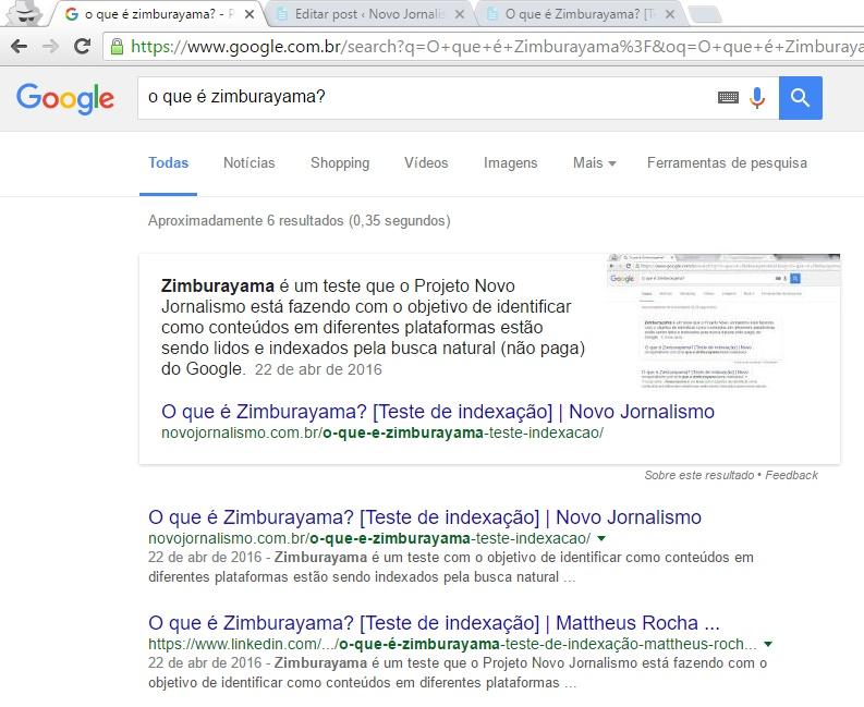 O que é Zimburayama - Teste de indexação: busca LinkedIn Pulse