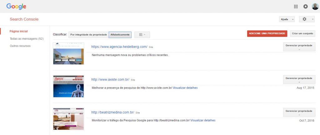 Google Search Console - Página principal